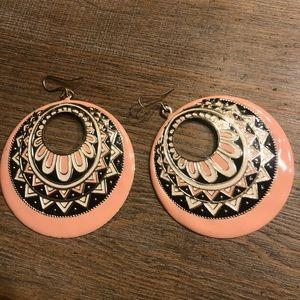 Pink, black & white earrings